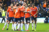 Danny Green of Luton Town (2nd right) celebrates scoring the opening goal against Barnet during the Sky Bet League 2 match at Kenilworth Road, Luton<br /> Picture by David Horn/Focus Images Ltd +44 7545 970036<br /> 14/11/2015