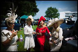 Racegoers enjoy drinks and picnics in the car parks of Ascot races on Day 2 of Royal Ascot, <br /> Ascot, United Kingdom<br /> Wednesday, 19th June 2013<br /> Picture by Andrew Parsons / i-Images