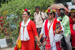 April 14, 2018 - Dhaka, Bangladesh - The Faculty of Fine Arts of Dhaka University on Saturday brought out the 'Mangal Shobhajatra' (a traditional parade) where tens of thousands of people from all walks of life joined to celebrate Pahela Baishakh, the first day of Bengali new year 1425. (Credit Image: © Tahir Hasan/Pacific Press via ZUMA Wire)