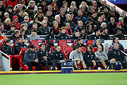 Liverpool bench during the Champions League match between Liverpool and FC Red Bull at Anfield, Liverpool, England on 2 October 2019.