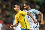 Brazil (9) Gabriel Jesus, England (4) Joseph Gomez during the International Friendly match between England and Brazil at Wembley Stadium, London, England on 14 November 2017. Photo by Sebastian Frej.