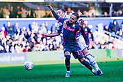 Leeds United forward Helder Costa (17) is fouled during the EFL Sky Bet Championship match between Queens Park Rangers and Leeds United at the Kiyan Prince Foundation Stadium, London, England on 18 January 2020.