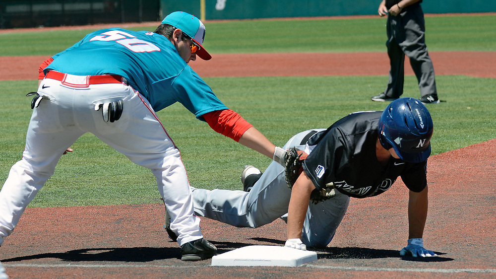 jt052017e/ sports/jim thompson/UNM's first baseman #50 Brandon Langan makes the tag on Nevada's #10 Chase Grant.  Saturday May. 20, 2017. (Jim Thompson/Albuquerque Journal)