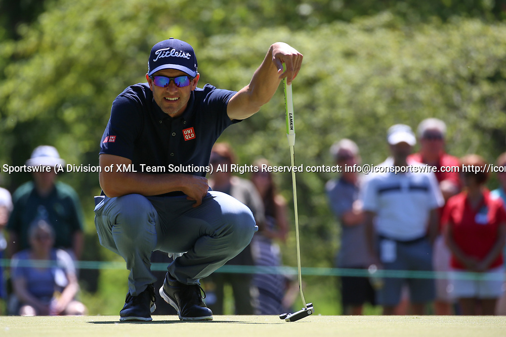DUBLIN, OH - JUNE 02: Adam Scott lines up a putt during the second round of The Memorial Tournament on June 2nd 2017, at the Muirfield Village Golf Club in Dublin, OH. (Photo by Ian Johnson/Icon Sportswire)