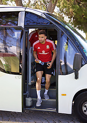 VALE DO LOBO, PORTUGAL - Friday, May 27, 2016: Wales' Hal Robson-Kanu arrives for training on during day four of the pre-UEFA Euro 2016 training camp at the Vale Do Lobo resort in Portugal. (Pic by David Rawcliffe/Propaganda)