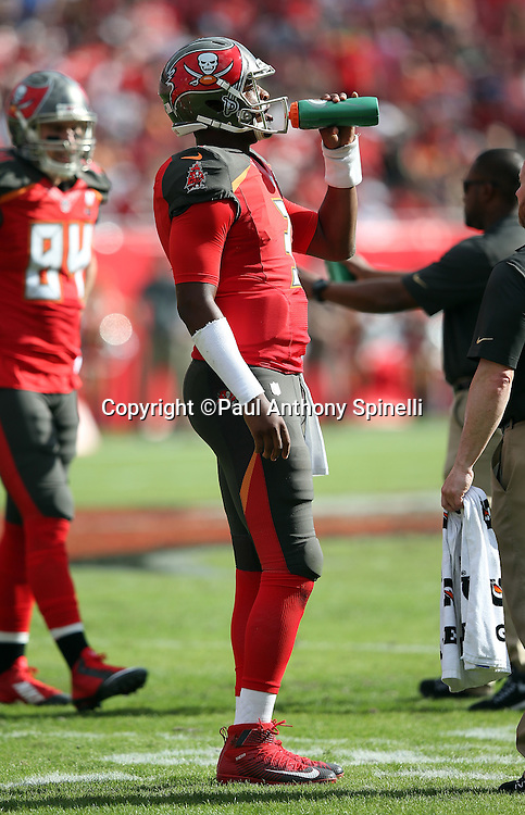 Tampa Bay Buccaneers quarterback Jameis Winston (3) takes a drink between plays during the 2015 week 14 regular season NFL football game against the New Orleans Saints on Sunday, Dec. 13, 2015 in Tampa, Fla. The Saints won the game 24-17. (©Paul Anthony Spinelli)