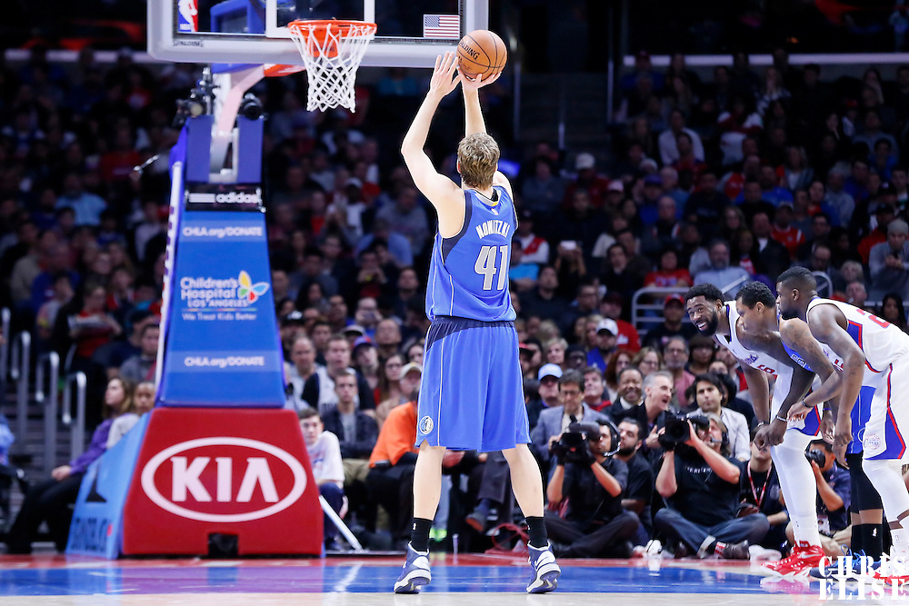 10 January 2014: Dallas Mavericks forward Dirk Nowitzki (41) is seen at the free throw line during the Los Angeles Clippers 120-100 victory over the Dallas Mavericks, at the Staples Center, Los Angeles, California, USA.