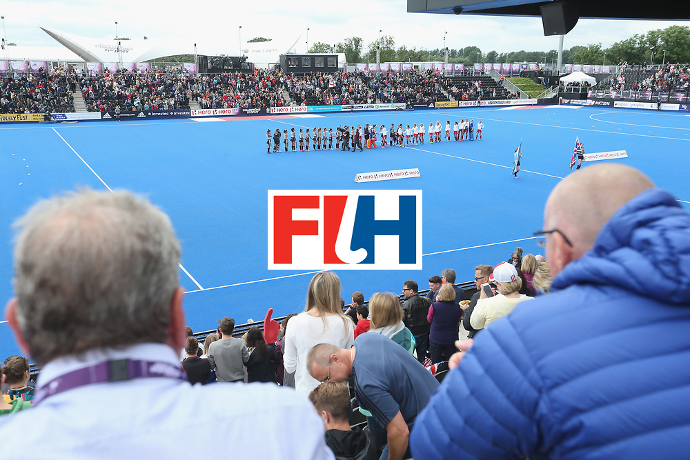 LONDON, ENGLAND - JUNE 18:  Teams line up prior to the FIH Women's Hockey Champions Trophy match between Argentina and Great Britain at Queen Elizabeth Olympic Park on June 18, 2016 in London, England.  (Photo by Alex Morton/Getty Images)