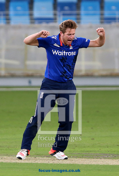 Liam Dawson of England Lions takes the wicket of Sohaib Maqsood of Pakistan A during the International Twenty/20 match at Dubai International Cricket Stadium, Dubai<br /> Picture by Chris Whiteoak-Medcalf/Focus Images Ltd +971 8117530<br /> 10/12/2015