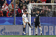Sevilla midfielder Pablo Sarabia (17) heads at goal with Manchester United Defender Chris Smalling defending during the Champions League match between Sevilla and Manchester United at the Ramon Sanchez Pizjuan Stadium, Seville, Spain on 21 February 2018. Picture by Phil Duncan.