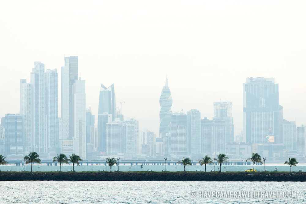 The buildings in the distance on Punta Paitilla in Panama City, Panama.