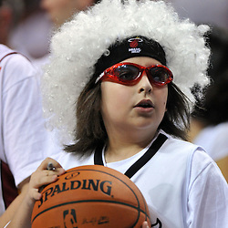 Jun 17, 2012; Miam, FL, USA; Miami Heat fan before game three in the 2012 NBA Finals against the Oklahoma City Thunder at the American Airlines Arena. Mandatory Credit: Derick E. Hingle-US PRESSWIRE