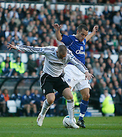 Photo: Steve Bond.<br /> Derby County v Everton. The FA Barclays Premiership. 28/10/2007. Kenny Miller (L) manages to shield the ball from Leon Osman (R)