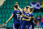 Hayley Lauder (#7) of Scotland reacts as Scotland players celebrate with Kim Little (#8) of Scotland after she scored her fifth goal during the Women's Euro Qualifiers match between Scotland Women and Cyprus Women at Easter Road, Edinburgh, Scotland on 30 August 2019.