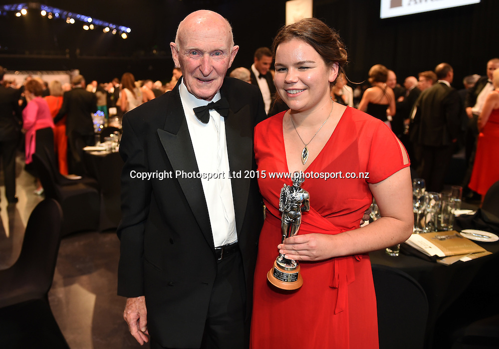 Mary Fisher with Sir Murray Halberg at the 52nd Halberg Awards. Halberg Disability Sport Foundation. Vector Arena, Auckland, New Zealand. Wednesday 11 February 2015. Copyright Photo: Andrew Cornaga / www.photosport.co.nz