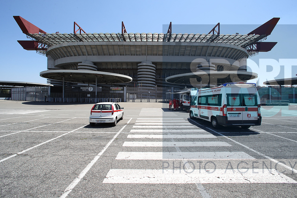 The Italian Red Cross at temperature control stations outside the stadium before the Serie A match at Giuseppe Meazza, Milan. Picture date: 28th June 2020. Picture credit should read: Jonathan Moscrop/Sportimage
