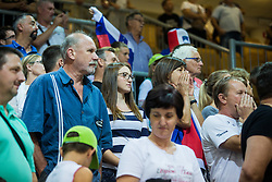 Slovenian fans during friendly basketball match between National teams of Slovenia and Ukraineat day 1 of Adecco Cup 2015, on August 21 in Koper, Slovenia. Photo by Grega Valancic / Sportida