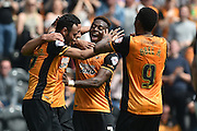 Hull City celebrate Hull City midfielder Jake Livermore (14) scoring his first of two goals to go 3-1 up during the Sky Bet Championship match between Hull City and Rotherham United at the KC Stadium, Kingston upon Hull, England on 7 May 2016. Photo by Ian Lyall.