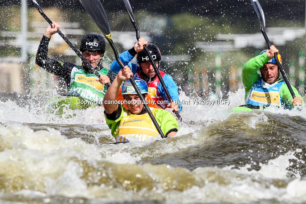 Mike Dawson (NZL), Vit Prindis (CZE), Ondrej Tunka (CZE), Vavrinec Hradilek (CZE), canoe slalom World Cup in Prague, 16 June 2017. Image: Balint Vekassy / www.photosport.nz