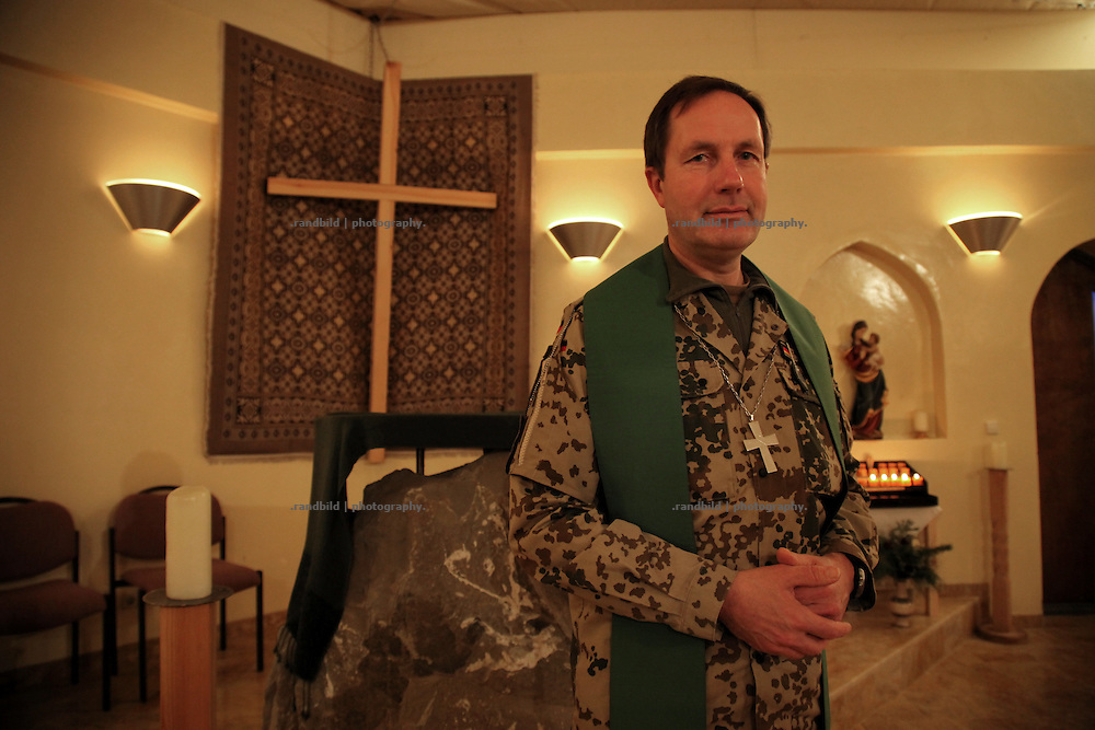Military priest von Schubert in an improvised chapel inside ISAF Camp Marmal