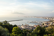 15 May 2017, Castellamare di Stabia, Naples Italy - A view from the Faito Mountain of the entire Gulf of Naples with Volcano Vesuvio, the villages around and the port of city of Castellamare di Stabia. The port of the city of Castellamare di Stabia is indicated inside the National plane of evacuation as a one of the access gates for the village of Trecase with his inhabitants, about 4500.