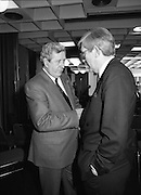 Garret Fitzgerald Stands Down As Fine Gael Leader.(R52)..1987..11.03.1987..03.11.1987..11th March 1987..After the loss at the recent general election Dr Garret Fitzgerald took the decision to resign as leader of the Fine Gael Party...Image shows Gr Fitzgerald having a quiet moment with a Fine Gael activist after his press conference.