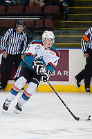 KELOWNA, CANADA - SEPTEMBER 5: Lucas Johansen #7 of Kelowna Rockets skates with the puck against the Prince George Cougars on September 5, 2015 during the first pre-season game at Prospera Place in Kelowna, British Columbia, Canada.  (Photo by Marissa Baecker/Shoot the Breeze)  *** Local Caption *** Lucas Johansen;