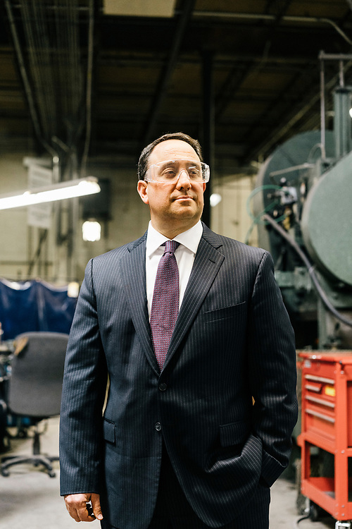 Drew Greenblatt, owner at Marlin Steel Wire Products LLC in Baltimore on March 16, 2017. Marlin Steel uses three robots on their production floor, one from Ready Robotics, a company less than two miles away. CREDIT: Greg Kahn / GRAIN for the Wall Street Journal ROBOTGAP