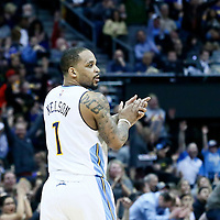 13 February 2017: Denver Nuggets guard Jameer Nelson (1) celebrates during the Denver Nuggets 132-110 victory over the Golden State Warriors, at the Pepsi Center, Denver, Colorado, USA.