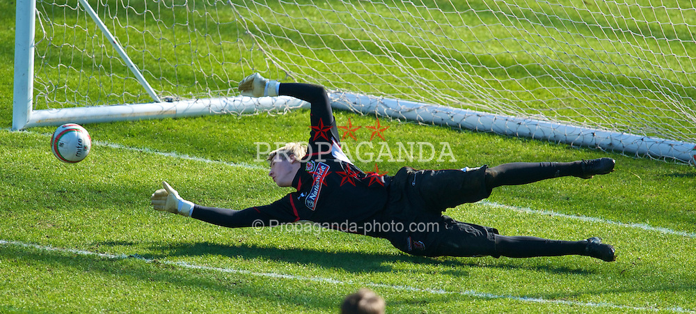 SWANSEA, WALES - Monday, March 1, 2010: Wales' goalkeeper Wayne Hennessey during training at the Liberty Stadium ahead of the international friendly match against Sweden. (Photo by David Rawcliffe/Propaganda)