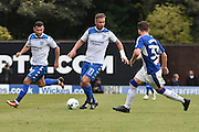 Bury Forward, Tom Pope (11), Bury Midfielder, Zeli Ismail (7) and Chesterfield Defender, Liam Graham (33) during the EFL Sky Bet League 1 match between Bury and Chesterfield at the JD Stadium, Bury, England on 24 September 2016. Photo by Mark Pollitt.