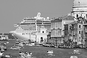 MSC Divina sails along Canale della Giudecca in Venice, Italy. At 139, 000 tons, the MSC Divina can carry nearly 4,000 passengers.