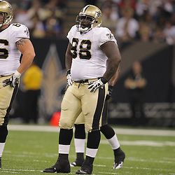 2008 August 16: New Orleans Saints rookie defensive tackle Sedrick Ellis (98) during the first quarter of the Saints preseason match up against the Houston Texans at the Louisiana Superdome in New Orleans, LA. .