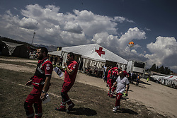 August 30, 2016 - Amatrice, Italy - A view of tent of Red Cross in Amatrice on August 30, 2016 in Amatrice, Italy. Italy has declared a state of emergency in the regions worst hit by Wednesday's earthquake as hopes diminish of finding more survivors. At least 290 people are now know to have died and around 400 injured with teams continuing to search the rubble of collapsed buildings. (Credit Image: © Manuel Romano/NurPhoto via ZUMA Press)