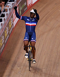 Gregory Bauge celebrates winning the men's sprint final during Round One of the 2017/18 Revolution Series at Lee Valley Velo Park, London.