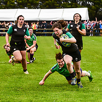 "REPRO FREE<br /> Katie Heffernan from the IRFU Development VII on her way to scoring a try in their 40-5 defeat of Railway Union to win the 2016 Hayes Caravan Services Women's Cup at the The Heineken Kinsale 7s over the May Bank Holiday weekend.<br /> Picture. John Allen<br /> <br /> *** PRESS RELEASE *** <br /> Sunday 1st May 2016<br /> <br /> 2016 HEINEKEN KINSALE 7s <br /> The Wooden Spoon Charity team from the UK were crowned 2016 Heineken Kinsale 7s Champions over Forces Exiles 19-15 in a tightly contested final. The Irish Development Women's Team won the Women's Trophy and The Lightning Bolts won the Men's Open for the fourth time in a row. <br /> Now in its 28th year, the Heineken Kinsale 7s is Ireland's largest rugby 7s tournament and builds on its success each year. Over 70 teams and supporters enjoyed great running rugby and the huge festival atmosphere in Kinsale RFC and in the town over the May Bank Holiday weekend.<br /> Men's Elite Champions<br /> Wooden Spoon Charity<br /> Forces Exiles <br /> Hayes Caravan Services Women's Cup<br /> IRFU Development VII<br /> Railway Union <br /> Men's Open Champions<br /> Lightning Bolts<br /> Lloyds RFC<br /> Men's Social<br /> Goat Nation<br /> Strictly Anal RFC<br /> Women's Social<br /> Team Boom<br /> Blackrock RFC<br /> <br /> Pat Maher, Event and Sponsorship Manager, Heineken Ireland said: ""Heineken, alongside our business partners in Kinsale and surrounding areas, are delighted to continue our long association with this fantastic event over the May Bank Holiday weekend.""<br /> Tomás O'Brien, Tournament Director, thanked all sponsors, associate partners, club members and volunteers for their continued involvement and support. ""The Heineken Kinsale 7s generates a huge boost to Kinsale Rugby Club and the local economy and is staffed entirely by volunteers. I wish to thank Heineken, Kukri Ireland and all our partners and volunteers for their continued support. We look forward to welcoming all teams and visitors to Kinsale this year,"" said Tomás O'Brien.<br /> Kukri Ireland is the official event wear for the Kinsale 7s again this year. There is"