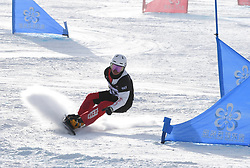 ZHANGJIAKOU, Feb. 24, 2019  Zhang Xuan of China competes during the men's Parallel Slalom final of FIS Snowboard World Cup 2018-2019 in Zhangjiakou of north China's Hebei Province, on Feb. 24, 2019. (Credit Image: © Xinhua via ZUMA Wire)