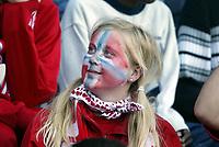 Fotball, 27. mai 2004, Privatlandskamp, Norge - Wales 0-0,  illustrasjon, tilskuer, norske flagg, malt flagg i ansiktet, fans, supporter