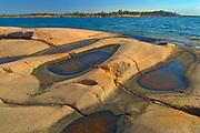 Precambrian Shield rock along Georgian Bay (Lake Huron)<br />Killarney Provincial Park<br />Ontario<br />Canada