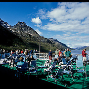 Three weeks aboard the Kong Harald. Hurtigruten, the Coastal Express. In the Trollfjord, in the Lofotens.