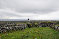 Hand built stone walls on Inis Oirr Island the Aran Islands County Galway Ireland