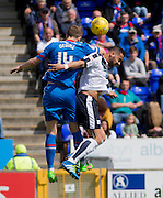 Dundee&rsquo;s Kane Hemmings is outjumped by Inverness&rsquo; Daniel Devine - Inverness Caledonian Thistle  v Dundee, Ladbrokes Scottish Premiership at Caledonian Stadium <br /> <br />  - &copy; David Young - www.davidyoungphoto.co.uk - email: davidyoungphoto@gmail.com