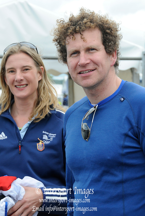 Henley, GREAT BRITAIN,  2012 Henley Royal Regatta.Sarah WINCKLESS (left) and Johnny SEARLE (right), Olympic Medallists, ready for the row past of the Royal Barge, Gloriana. Sunday  10:03:41  01/07/2012 [Mandatory Credit, Intersport-images] ..Rowing Courses, Henley Reach, Henley, ENGLAND . HRR.