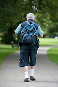An elderly man, possibly a pensioner, takes a stroll in a park in shorts and carrying a rucksack on his shoulders.<br /> Picture: Sean Spencer/Hull News & Pictures Ltd<br /> 01482 772651/07976 433960<br /> www.hullnews.co.uk   sean@hullnews.co.uk