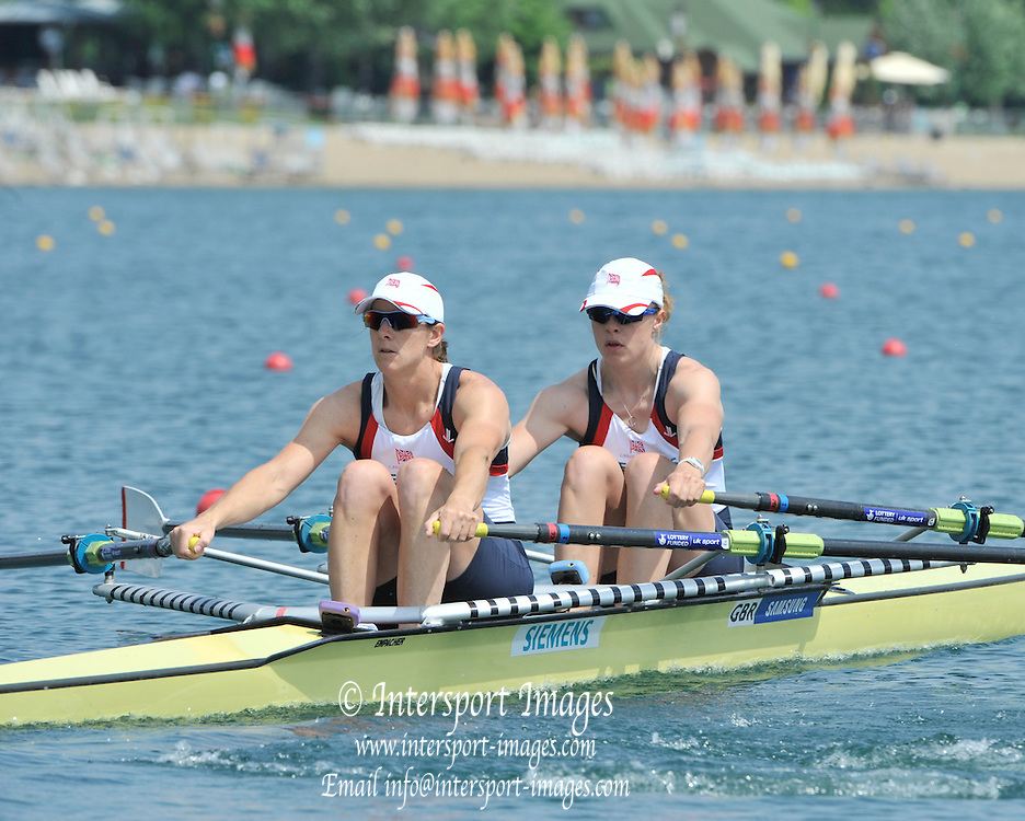 Belgrade, SERBIA. 2012 FISA World Cup I. GBR W2X, Bow. Anna WATKINS and Katherine GRAINGER.    Friday  04/05/2012 [Mandatory Credit. Peter Spurrier/Intersport Images]