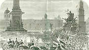 Guiseppe Garibaldi (1807-1882) Italian patriot. Crowds cheering Garibaldi as he passed the foot of Nelson's Column in Trafalgar Square, London, on his visit to Britain in 1864.  Engraving.
