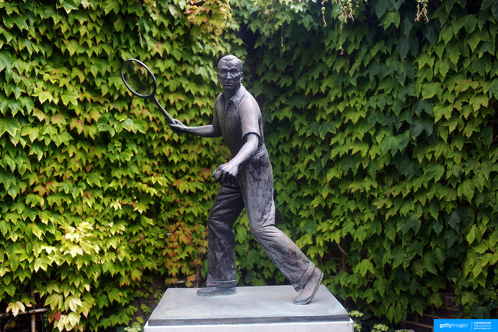 The statue of tennis legend Fred Perry in the grounds of  Wimbledon, London, England on Monday, June 22, 2009. Photo Tim Clayton