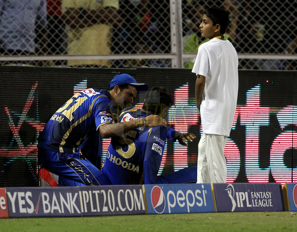 Rajasthan Royals player Deepak Hooda and Rajasthan Royals player Barinder Singh Sran collides during match 54 of the Pepsi IPL 2015 (Indian Premier League) between The Rajasthan Royals and The Kolkata Knight Riders held at the Brabourne Stadium in Mumbai, India on the 16th May 2015.<br /> <br /> Photo by:  Vipin Pawar / SPORTZPICS / IPL