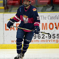WELLINGTON, ON - NOVEMBER 30: Andrew Rinaldi #15 of the Wellington Dukes participates in the pre-game warmup for the Pink in the Rink game in support of Pedal for Hope on November 30, 2018 at Wellington and District Community Centre in Wellington, Ontario, Canada.<br /> (Photo by Ed McPherson / OJHL Images)