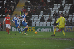 Bristol Rovers' Matt Harrold takes a shot at goal. - Photo mandatory by-line: Dougie Allward/JMP - Tel: Mobile: 07966 386802 14/12/2013 - SPORT - Football - Morecombe - Globe Arena - Morecombe v Bristol Rovers - Sky Bet League Two